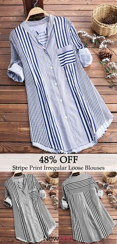 Stripe Print Irregular Hem Long Sleeve Loose Casual Blouses look not only special, but also they always show ladies' glamour perfectly and bring surprise. Come to NewChic to choose the best one for yourself! Stitching Dresses, Vestido Casual, Casual Elegance, Fashion Sewing, Indian Designer Wear, Shirt Blouses, Tunic Blouse, Stripe Print, Casual Shirts