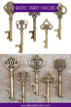 These wedding party favors are so popular for adults! | Vintage Key Bottle Openers | Explore rustic style vintage key bottle openers for wedding gifts, rustic beer opener, & bridal showers. | Unique Rustic Wedding Favors for Guests | Inexpesive Products FOR Women | Antique Gift Ideas for Bridal Shower + Adults | Cheap Party Decorations