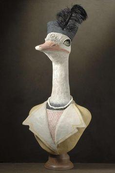 muse et homme anthropomorphisme ---------------------------- Portrait Sculpture, Bird Sculpture, Ceramic Animals, Clay Animals, Sculptures For Sale, Animal Sculptures, Paper Mache Animals, Wood Animal, Paperclay