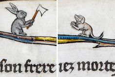La venganza del conejo. La Somme le Roy, Francia ca. 1290-1300 (British Library, Add. 28162, fol. 12v) https://www.facebook.com/discardingimages