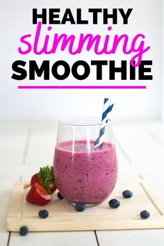 This slimming breakfast smoothie recipe is packed with healthy ingredients like greek yogurt, chia seeds, and berries.  You'll love this healthy berry smoothie! #smoothies