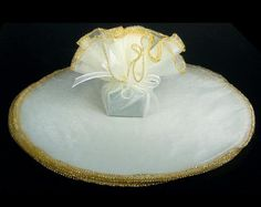 Fancy Edged Tulle Circle - Gold