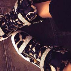 Giuseppe Zanotti Gold-Bar Leopard Sneakers | Spotted on @Jonathan Lo