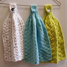 I love hanging kitchen towels, but have never seen a fully knit hanging towel, so after some experimentation, I came up with one. This pattern includes instructions for cotton worsted and DK weight yarns (hence the 2 needle sizes) and four stitch patterns.