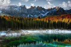 Rainbow Lake Carezza Italy