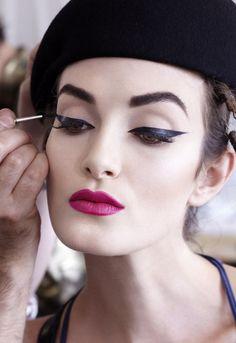 Raspberry Lip and Bold Eyeliner