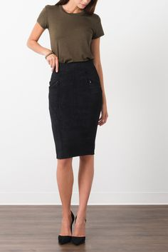 Suzy Shier Midi Pencil Skirt With Zip Detail