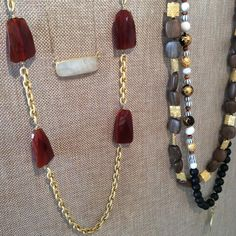 Necklaces! Carnelian, Moonstone, Black Onyx, Wood, Gold & Silver. www.meredithjackson.com