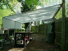 5 Amazing Diy Garden Shelter Ideas You Need to Know. Creative Shelters Pvc and Tarp Shade Tent Patio Backyard Shade, Backyard Gazebo, Outdoor Shade, Patio Shade, Pergola Shade, Patio Roof, Wood Patio, Backyard Toys, Diy Pergola