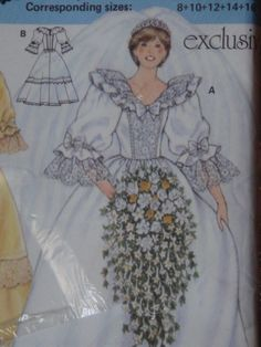 July 29, 1981: Prince Charles marries Lady Diana Spencer in Saint Paul's Cathedral. Princess Diana Wedding Gown Pattern.