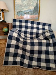 Buffalo Check Toddler Quilt Navy and Cream by laruedefleurs