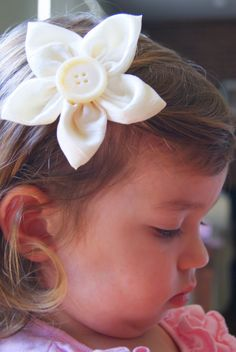 Fabric Flower Hairclip Ivory Full Flower Clip by missyfiore, $7.00