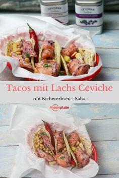 Tacos mit Lachs Ceviche und Kichererbsen-Salsa