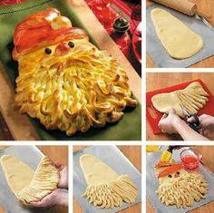 Une idée extra pour vos tables de fêtes => le pain du pére Noel, j'en suis sûre vos invités seront bluffés.Pére noel => pain idéal pour vos table de fêtesIngrédients:550g de farine à pain100g de sucre2 paquets de