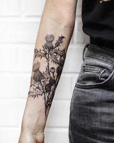 M Tattoos, Couple Tattoos, Black Tattoos, Hand Tattoos, Blackberry Tattoo, Scotland Tattoo, Scottish Thistle Tattoo, Piercing Tattoo, Piercings