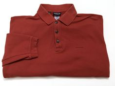Patagonia L Men's Organic Cotton Long Sleeve Polo Shirt Large Rust Red #Patagonia #PoloRugby