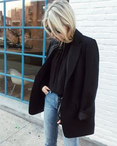 Helene Heath in the Barnaby Jacket and Petrichor Blouse. | @andwhatelse