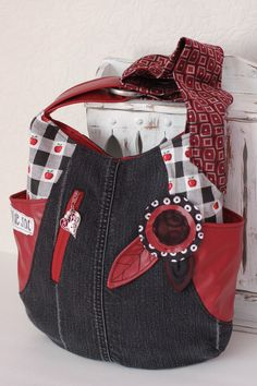 .denim and red 241 tote