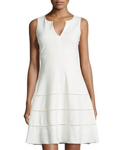 Perforated-Stripe Fit-and-Flare Dress, Ivory by Sharagano at Neiman Marcus Last Call.