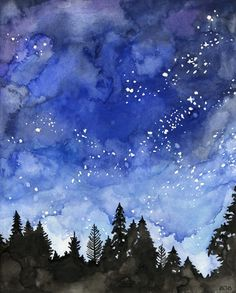 Watercolor Night Sky Painting Print by TheColorfulCatStudio Watercolor Night Sky, Night Sky Painting, Watercolor Print, Easy Watercolor Paintings, Watercolor Ideas, Water Color Painting Easy, Watercolor Galaxy, Night Sky Drawing, Watercolor Landscape