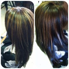 Caramel highlights in chocolate brown hair color