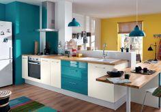 Inspiration : la cuisine bicolore avec une association jaune x turquoise