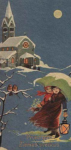 Vintage Christmas Card ~ Snowy Stroll ~ Orange Accents