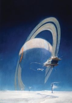 "Fantastic Sci-Fi Art Shows You a Beautiful, Bewildering Future | Cover of the book ""Saturn"" by Ben Bova.   Copyright John Harris  