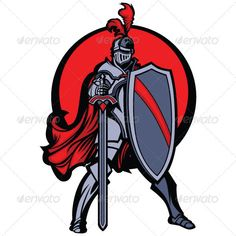Knight Mascot with Sword and Shield Vector Image — Vector EPS #head #illustration • Available here → https://graphicriver.net/item/knight-mascot-with-sword-and-shield-vector-image/589938?ref=pxcr