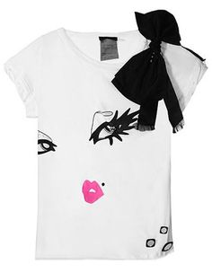 Alice + Olivia Painted Face and Bow Tee