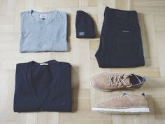 Outfitgrid - Edwin tee / Vailent cardigan / Carhartt beanie / Nudie jeans / Vans shoes