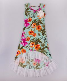 Another great find on #zulily! Turquoise & Orange Floral Hi-Low Maxi Dress - Toddler & Girls by Mia Belle Baby #zulilyfinds