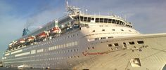 """""""Thomson Majesty"""" cruise ship at the port of Souda, due to bad weather 