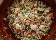 cold brown rice salad w/lemon and garlic.