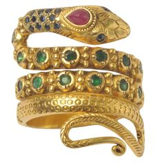 sapphire emerald diamond gold Snake Ring  | From a unique collection of vintage band rings at https://www.1stdibs.com/jewelry/rings/band-rings/
