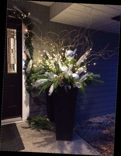 Christmas Urns, Christmas Planters, Christmas Arrangements, Outdoor Christmas Decorations, Winter Christmas, Christmas Lights, Christmas Holidays, Christmas Wreaths, Christmas Crafts