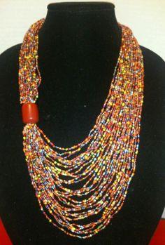 Beaded Massai necklace earring set    hand made by the Masai women of Kenya.