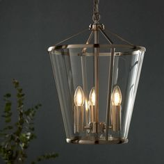 BuyJohn Lewis Granchester Glass Lantern Ceiling Light, Satin Nickel Online at johnlewis.com