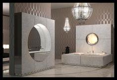 Ipe Cavalli modern bathroom with metallic wallpaper and luxury Chandelier