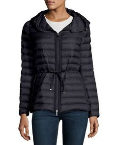 MONCLER Raie Hooded Down Jacket, Navy Blue. #moncler #cloth #