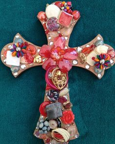 Vintage Jeweled Cross - Poppy Delight