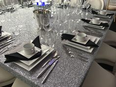 Silver Glitter Fabric 6ft Square Tables - to seat 12. This is utterly bespoke and available in your choice of fabric.