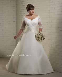 Robe De Mariée Grande Taille Perle En Satin