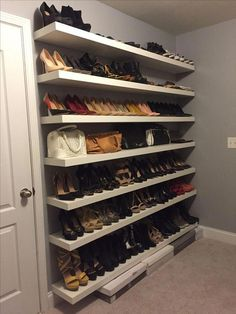 New shoe shelves installed and walls painted grey Bree Kemp - Home Professional Decoration Shoe Shelf In Closet, Shoe Shelf Diy, Closet Shoe Storage, Shoe Racks, Wall Shoe Rack, Shoe Wall, Shelves For Shoes, Shoe Room, Bedroom Closet Design