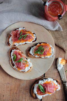 ricotta melon jam and prosciutto bruschetta