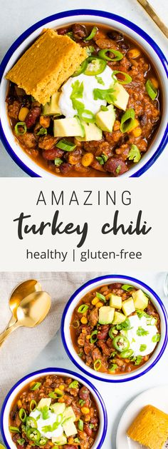 This lightened up turkey chili is made with a blend of kidney and black beans as well as corn. It's the perfect meal to serve for game day or as an easy dinner! #chili #turkey #healthy #beans #mealprep #eatingbirdfood Healthy Recipes, Easy Eat, Turkey Chili, Bird Food, Best Dinner Recipes, No Calorie Foods, Game Day Food, Easy Weeknight Dinners