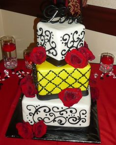 Lemon Yellow and Red Squares Wedding Cake  - what a POP of color!