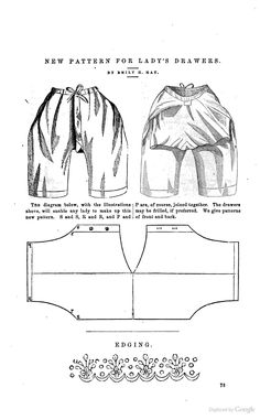 "New Peterson magazine - Google Books. July 1863. ""New Pattern for Lady's Drawers."""