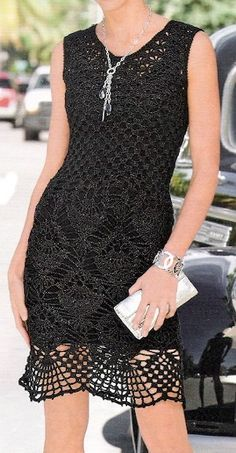 crochet black dress http://pinterest.com/gigibrazil/crochet-and-knitting-lovers/