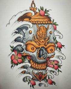 Kapala #tattoo #tattooart #tattooartist #tattoocollective #uktta #art #artwork #artcollective #artist #artnerd #unitedartists #nawden #nawdens #japanese #irezumi #tebori #japaneseart #japanesetattoo #japanesetattooart #irezumicollective #kapala #tibetanskull #skull #sakura #copic #instagramart #instagood #igdaily